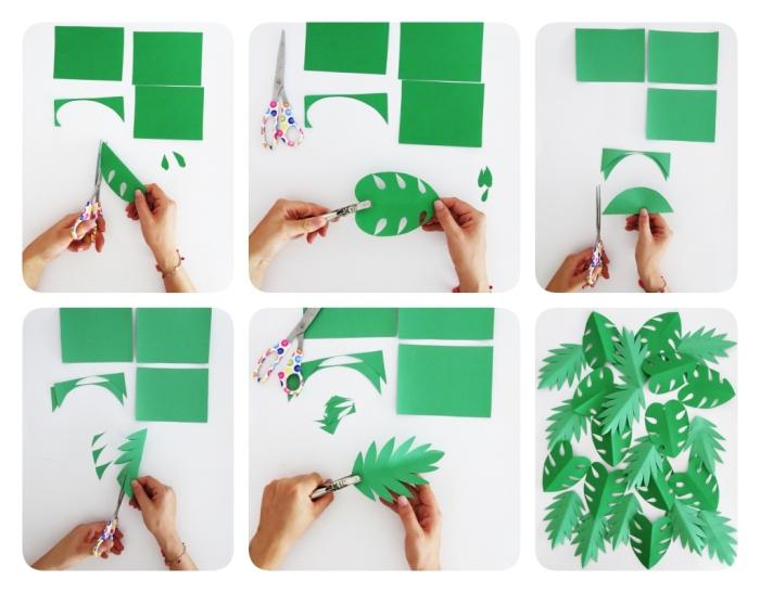 decoration de noel fait main, étapes à suivre pour faire une guirlande en papier à design feuilles vertes