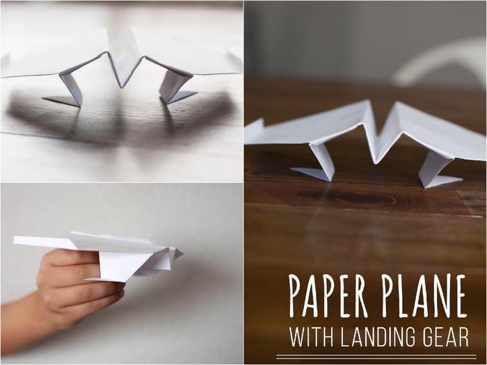 un modèle original d'origami avion avec train d'atterrissage d'une difficulté moyenne