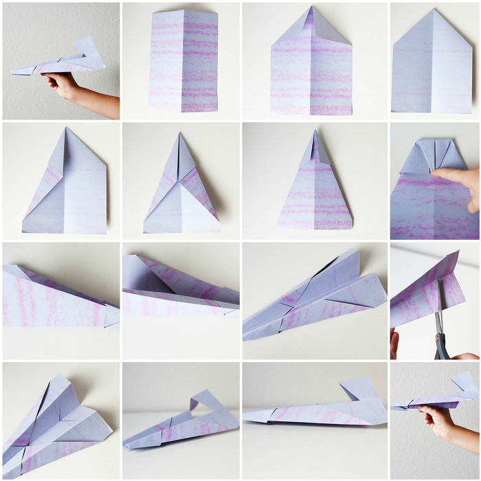 schéma de pliage origami pour plier facilement un avion en papier qui vole très bien