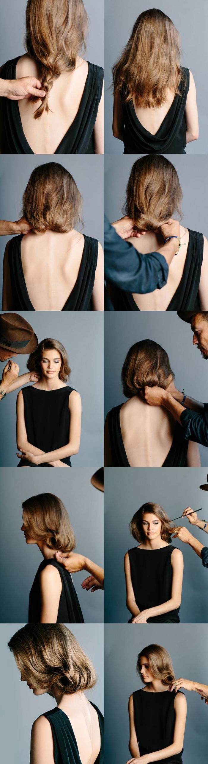 comment réaliser un faux carré à inspiration rétro coiffure femme année 50