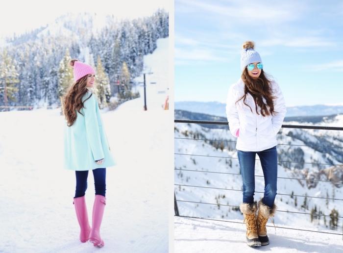 idee pour s habiller, tenue pour vacances au ski, bottines et bonnet en rose combinés avec manteau turquoise et pantalon foncé
