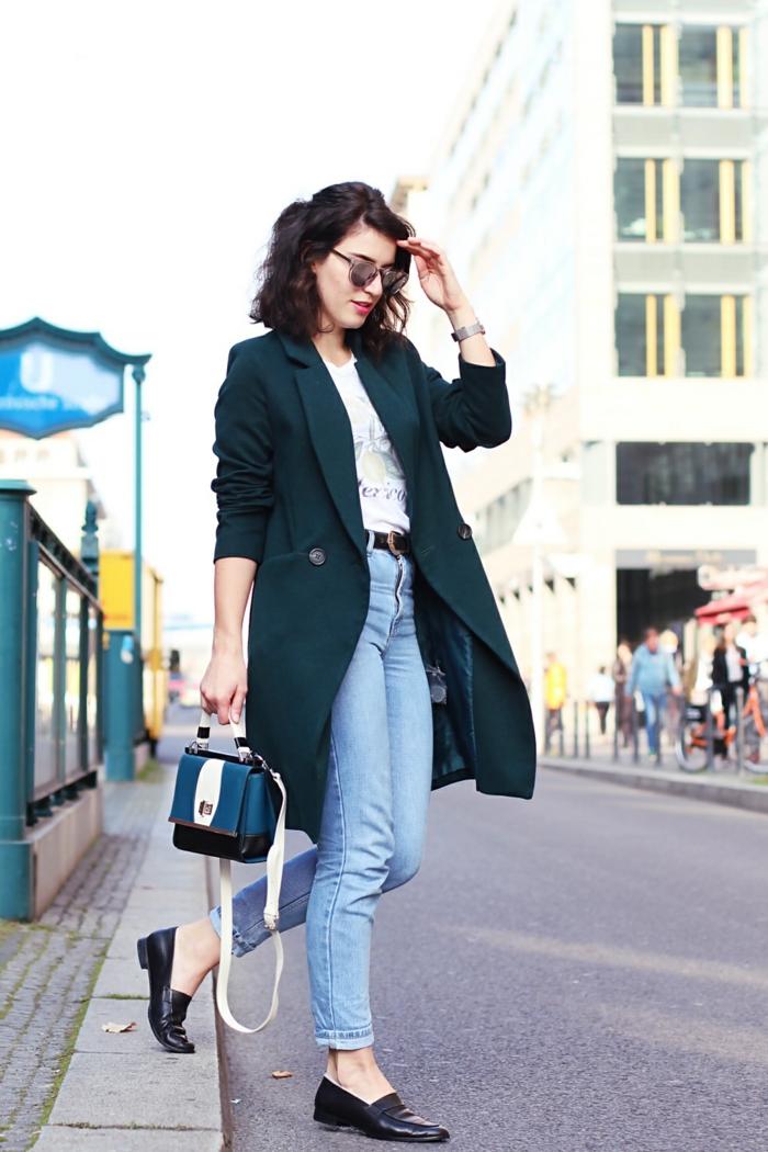 Chic decontracté femme combinaison noire promod cool jean bleu simple tenue