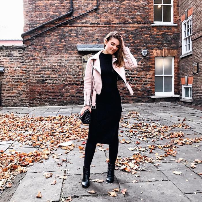 Ensemble pantalon ceremonie femme comment s habiller en automne robe mi longue veste cuir rose