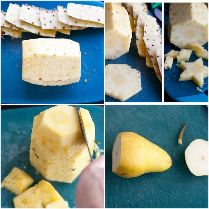 éplucher le tailler la nanas et la poire, idée de dessert leger noel, un sapin de noel en fruits, activite manuelle noel maternelle