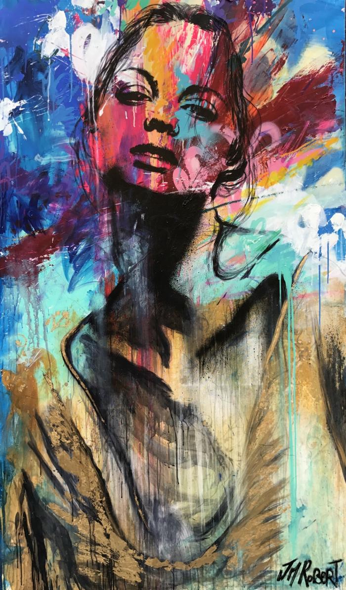 contemporain art artiste contemporain JM Robert, femme aux nuances pastels, impression de révolte, nuances du bleu et du beige