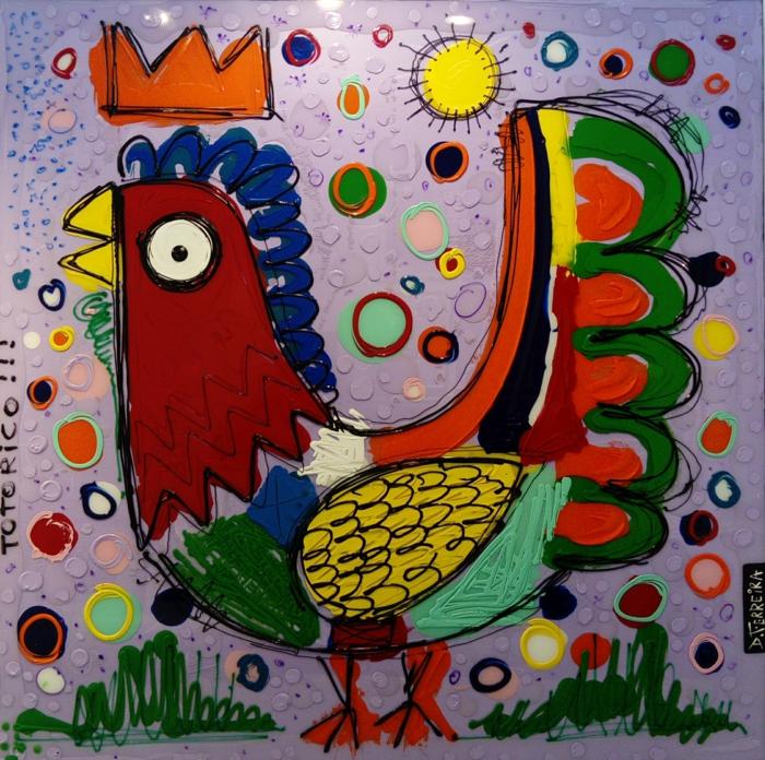 artiste contemporain David Ferreira un coq avec couronne de roi en couleurs vives, paysage avec un soleil jaune brillant, herbe verte, dessin avec signature de l'artiste