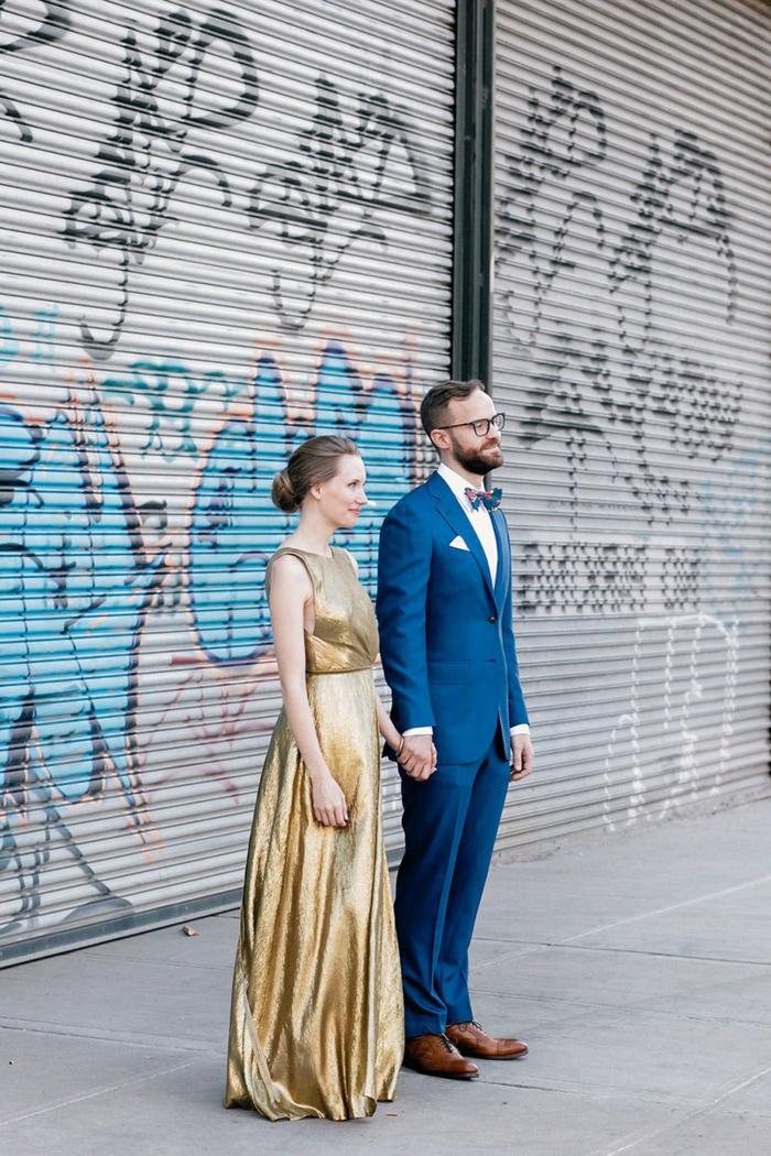 Tendance robe de bal dorée robe dorée longue photo tenue robe couple amoureuse
