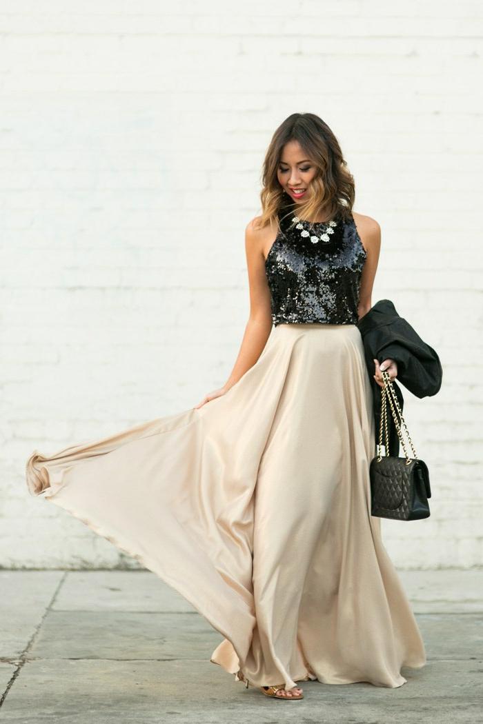 Robe courte dorée robe dorée dos nu idée comment s habiller robe deux pièces jupe longue
