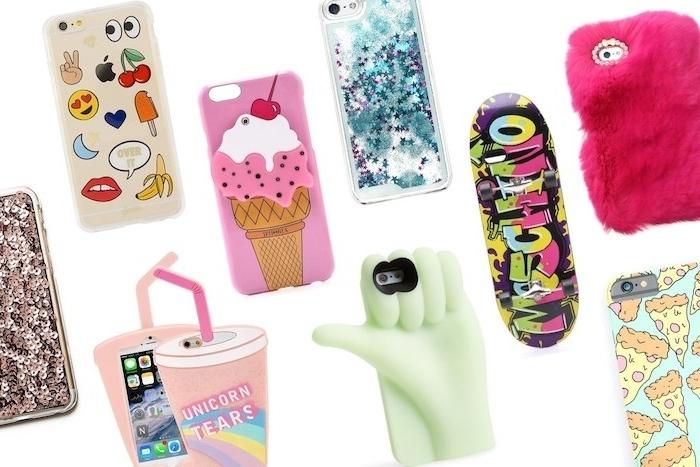 idee cadeau noel ado 15 ans, coque de téléphone portable personnalisée, motif emoji, glace, pizza, graffiti, licorne, main, pailelttes