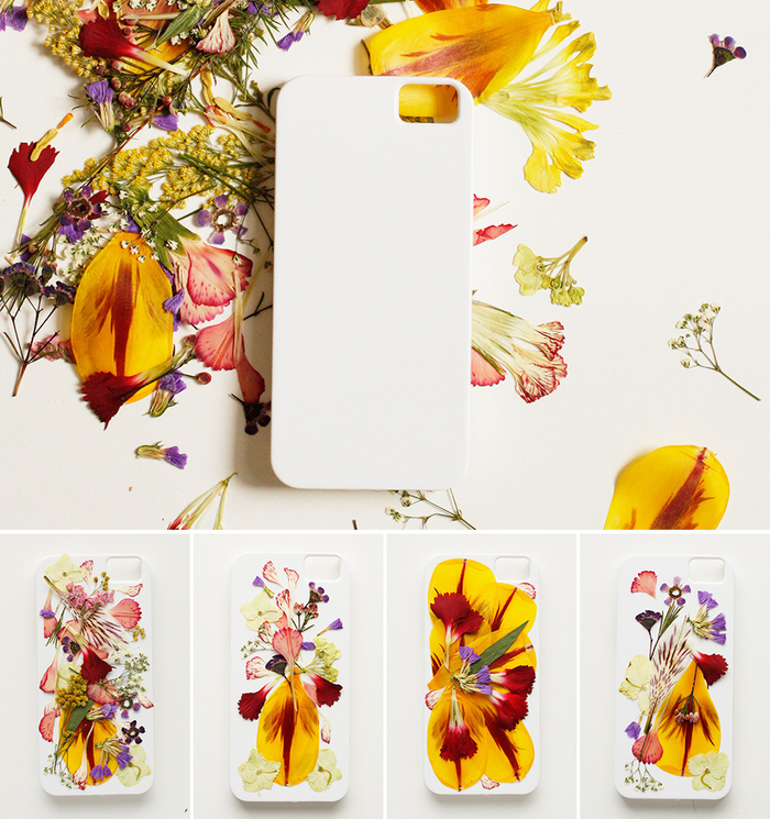 activité manuelle adulte originales avec des fleurs séchées pour décorer sa coque de téléphone de manière originale