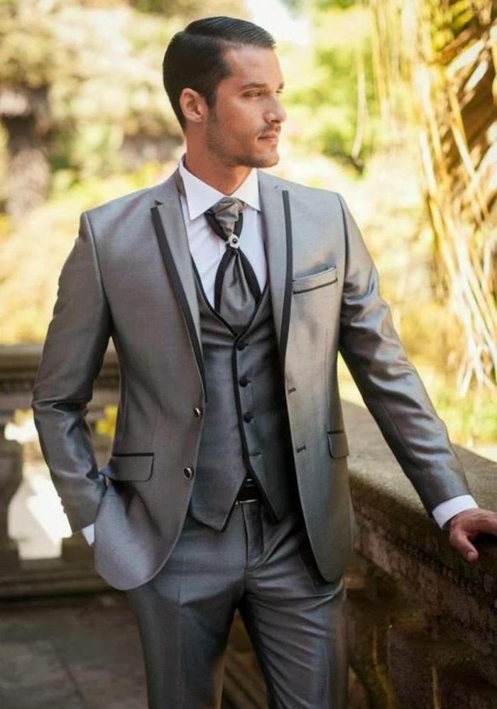 tenue de mariage homme costume 3 pièces gris