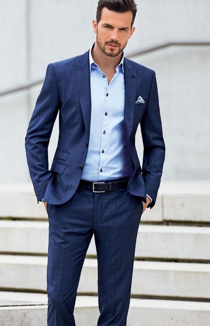 costume homme bleu marine décontracté léger pour mariage