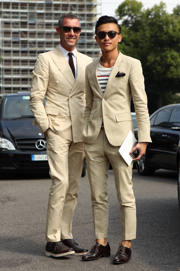 costume homme mariage hugo boss beige cintré slim