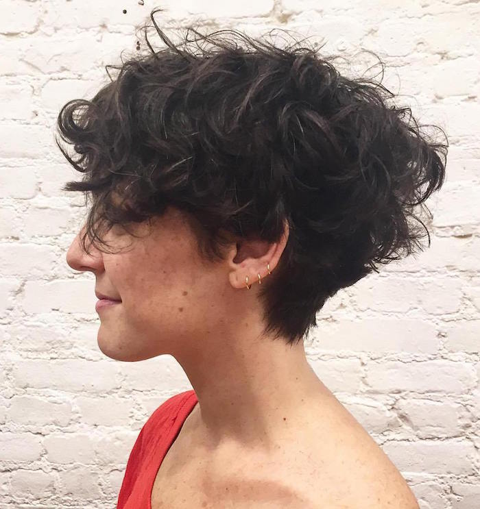 Coiffure cheveux courts frises femme