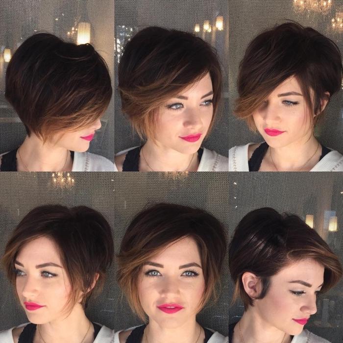 idée coiffure cheveux court, coupe femme aux cheveux marron avec mèches blond foncé