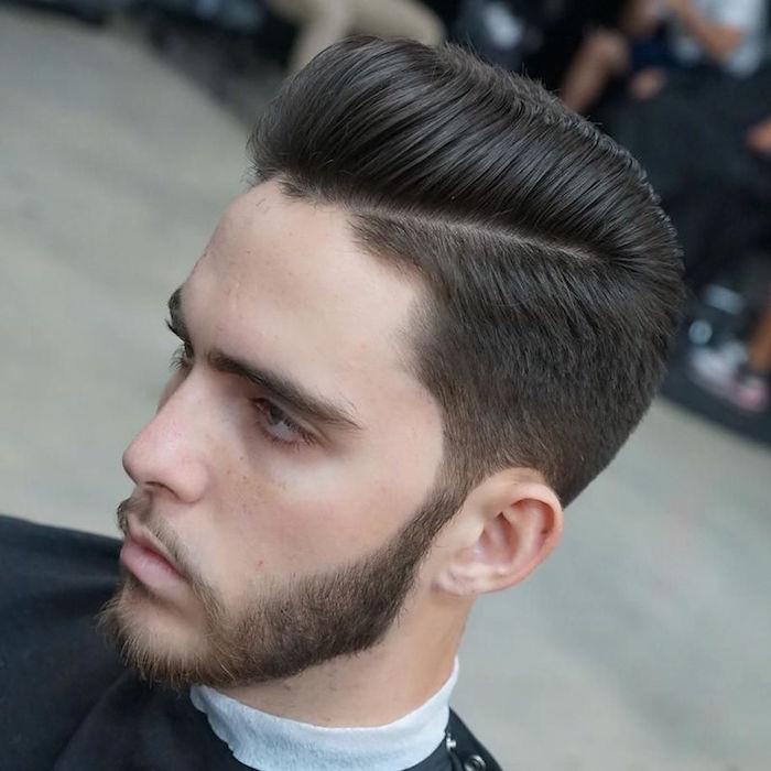 coupe degradee homme dégradé coiffure années 50 avec barbe degradé