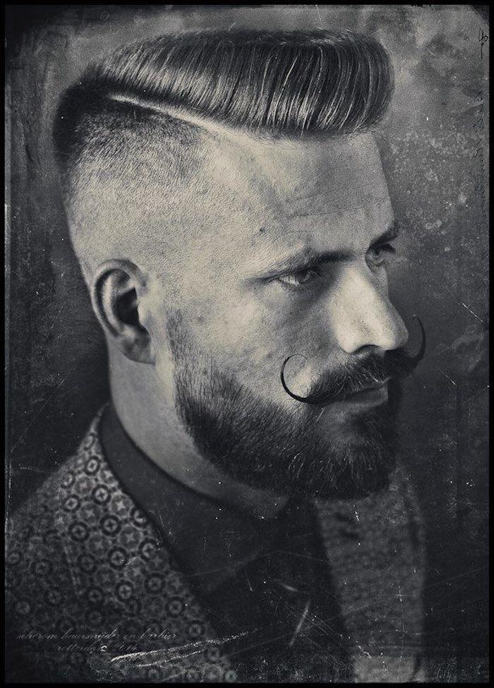 coupe dégradé homme pompadour coiffure hipster retro