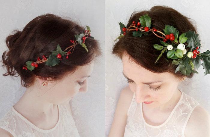 coiffure ado fille pour noel, chignon flou avec une couronne de houx naturel, idée originale et festive