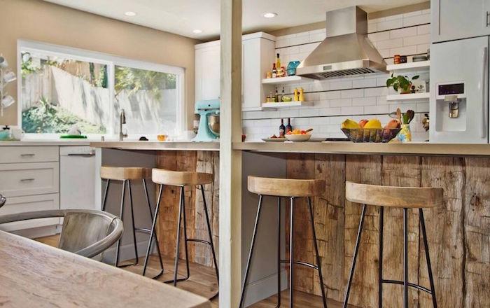 cuisine semi ouverte americaine us bar en bois design rustique