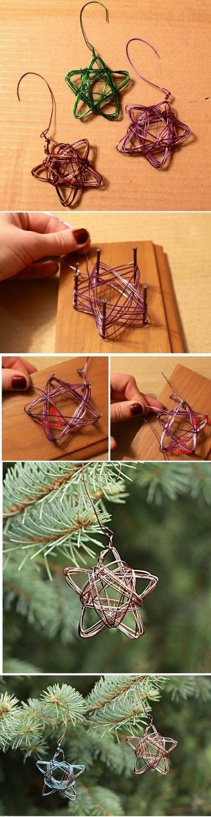 bricolage de noel avec du fil de fer coloré, pour faire des étoiles a suspendre sur le sapin, démonstration tuto sur la création des étoiles
