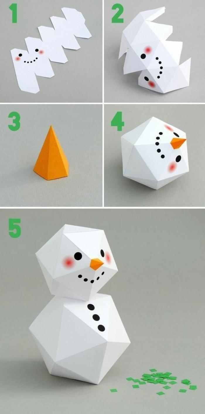 deco table noel a fabriquer, bonhomme de neige en carton blanc, avec des formes angulaires, et des petits points sur le carton, pour décorer le bonhomme, carotte en orange