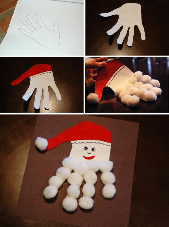 déco de noël à faire soi même facile, avec la forme d'une main en carton blanc, et avec des pompons blancs pour faire la barbe