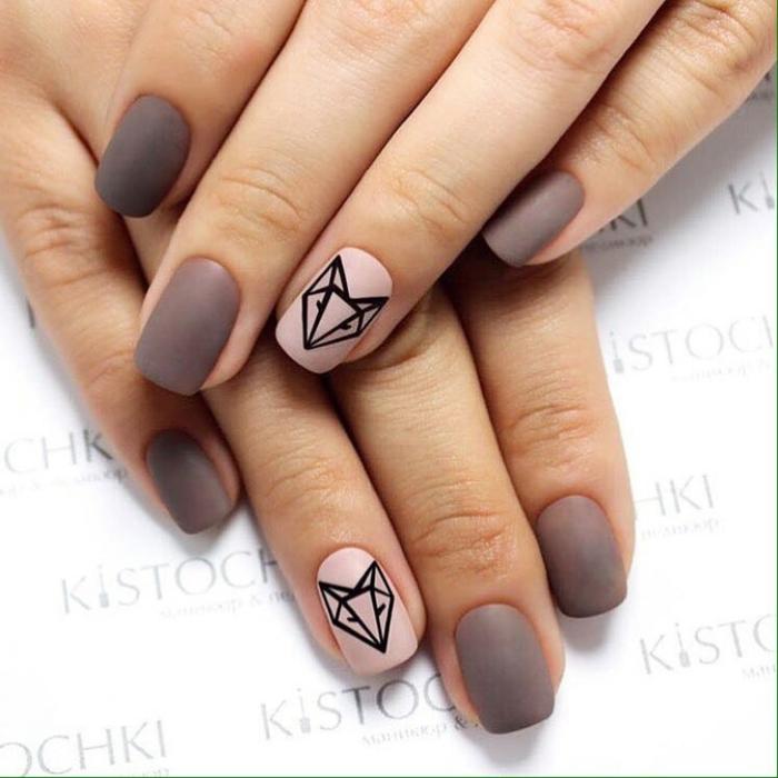 Quelle manucure pour de beaux ongles rose matte dessin animal géométrique nail art matte