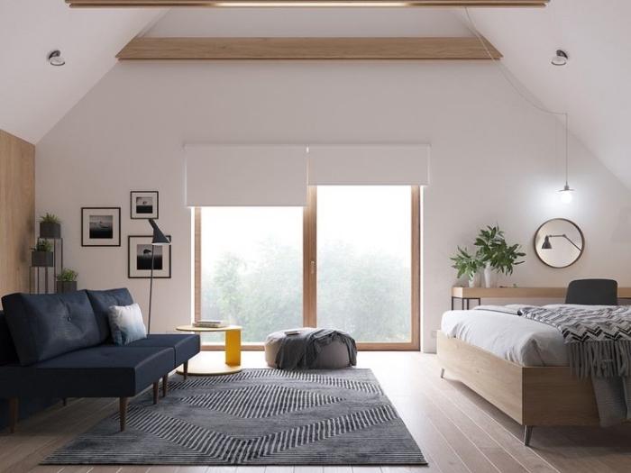 idee deco chambre mansardée, aménagement de pièce au grenier en style bohème chic avec meubles en bois