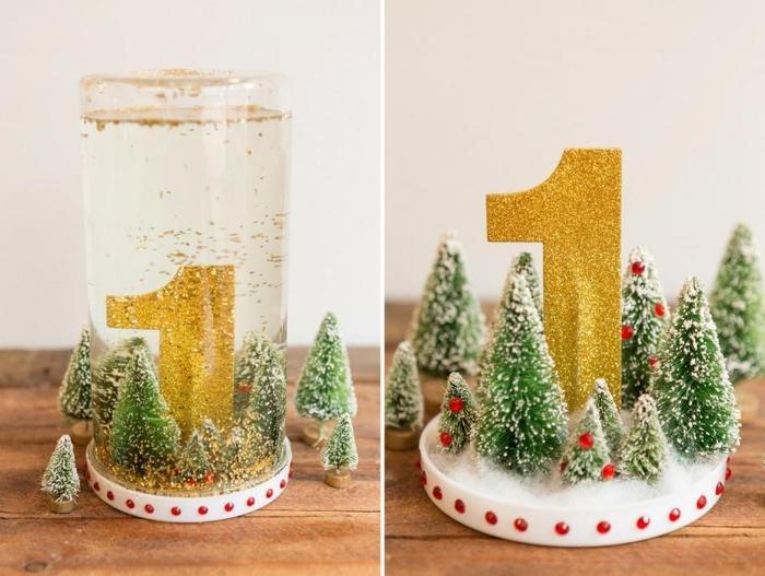 idée pour faire une boule à neige porte-numéro de table associant la couleur d'or et le vert
