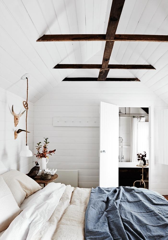 amenagement combles, chambre à coucher au grenier avec murs et plafond en bois peint en blanc