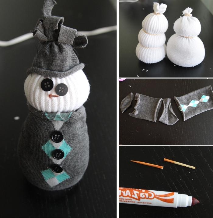 projet créatif pour les enfants à fabriquer avec chaussette et chutes de tissu, bonhomme de neige Halloween