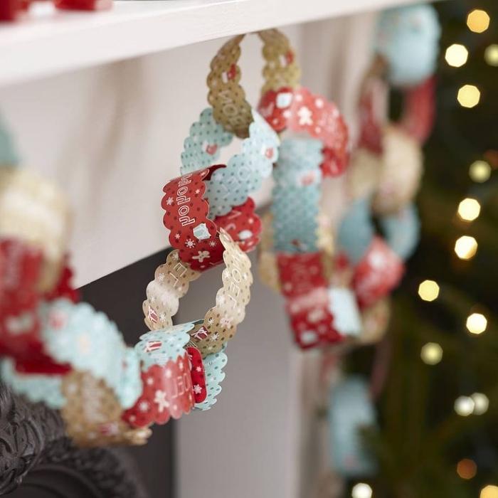 guirlande de noel a faire soi meme, décoration facile fait main avec papier coloré à design noel