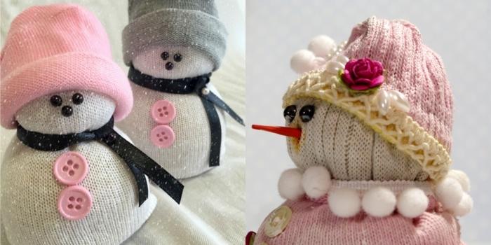 bonhomme de neige chaussette, idée pour faire un objet décoratif pour Noël, modèle de bonhomme de neige blanc avec bonnet rose et ruban noir
