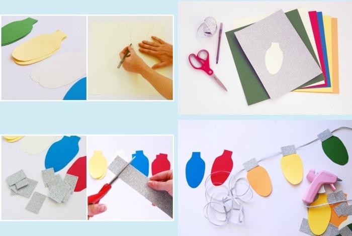 tutoriel pour réaliser une guirlande de Noel facile en papier coloré à design ampoules éléctriques