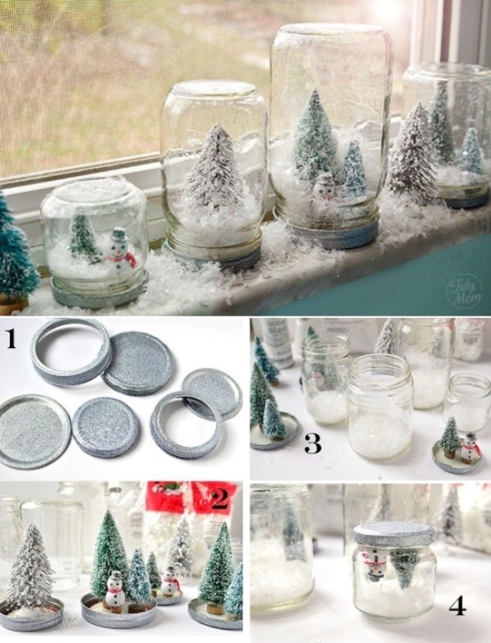décorations de noël à faire soi-même avec des bocaux en verre recyclés et des sapins décoratifs, déco de noël originale pour orner les rebords de la fenêtre