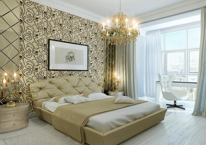 deco chambre baroque, commode miroir, tpete d elit en tissu, bureau près de la fenêtre