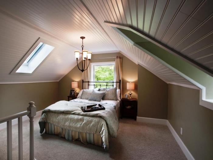 amenager comble, renouvellement de grenier avec peinture en verte et plafond en bois peint en blanc