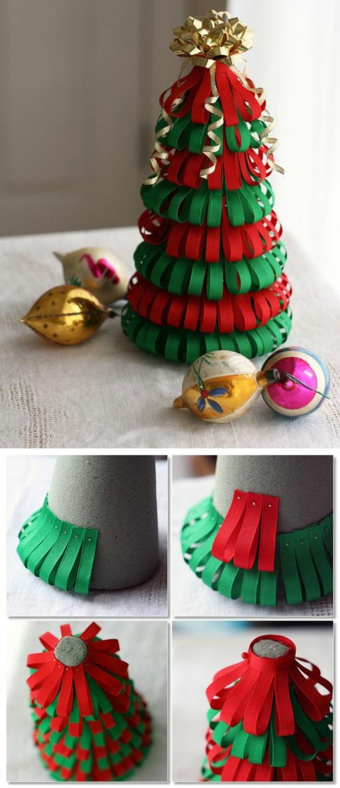 décoration de noel a faire soi même, sapin réalisé sur un cône en carton, sur lequel on applique des petites bandes de papier coloré en rouge et vert, sommet décoré de nœud pour paquet cadeau en couleur dorée