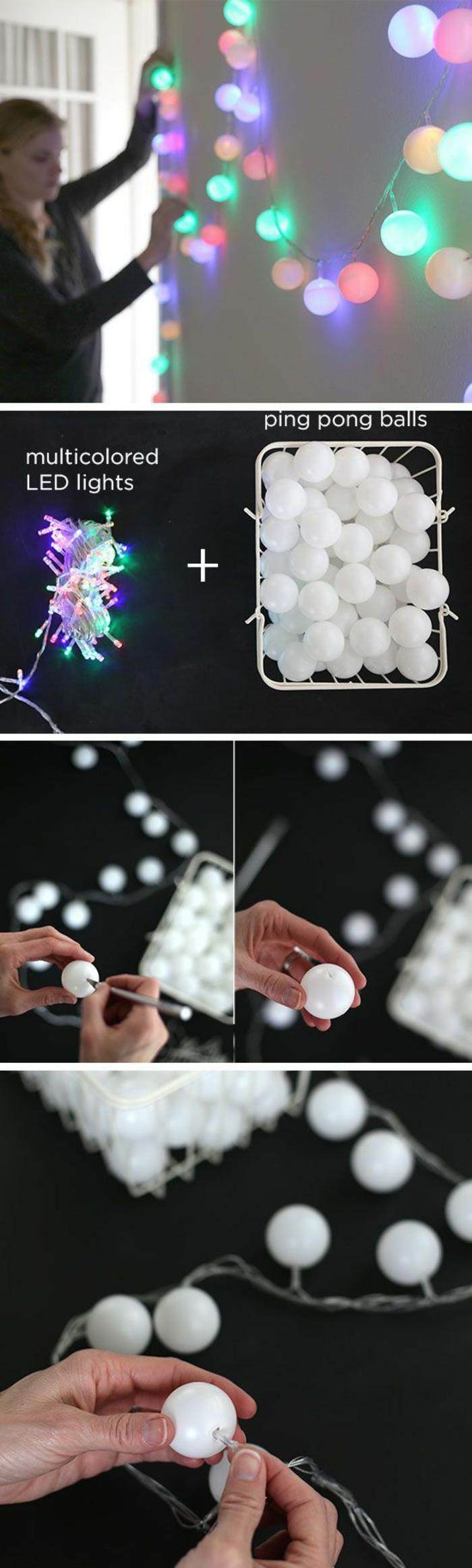 bricolage de noel avec des boules de ping pong, pour décorer avec une guirlande lumineuse, a suspendre sur le mur pour une ambiance féerique et romantique
