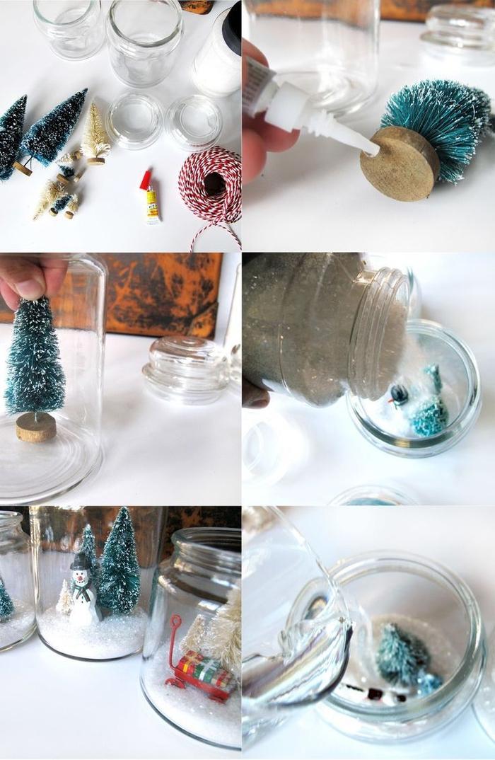 bricolage de noel facile pour transformer des bonbonnières vintage en jolies boules à neige