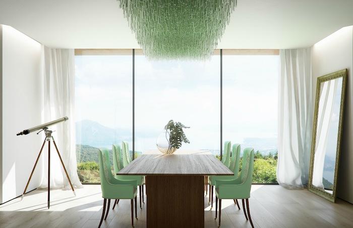 accorder couleur vert en déco de salle à manger
