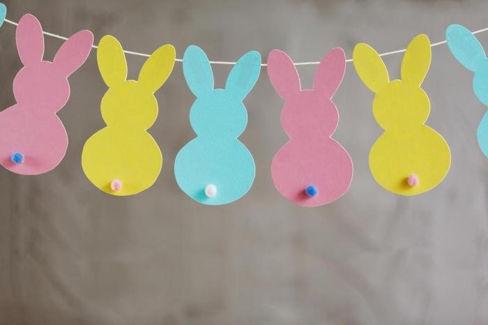 faire une guirlande en papier, décoration de Pâques fait main avec feuilles de papier en couleurs