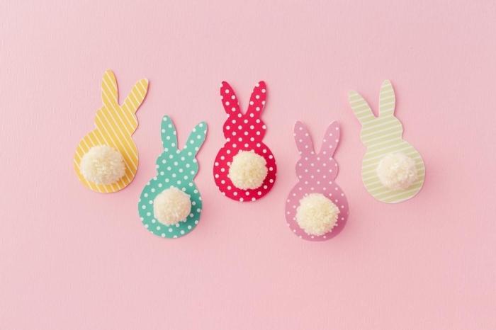 activité créative, étapes à suivre pour faire une déco de pâques facile avec papier en couleurs et aux motifs géométriques