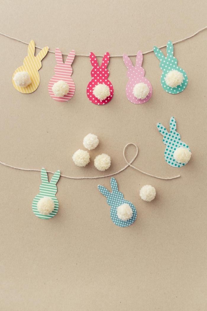faire une guirlande en papier, tutoriel avec photo pour faire une guirlande de Pâques à design lapins en papier