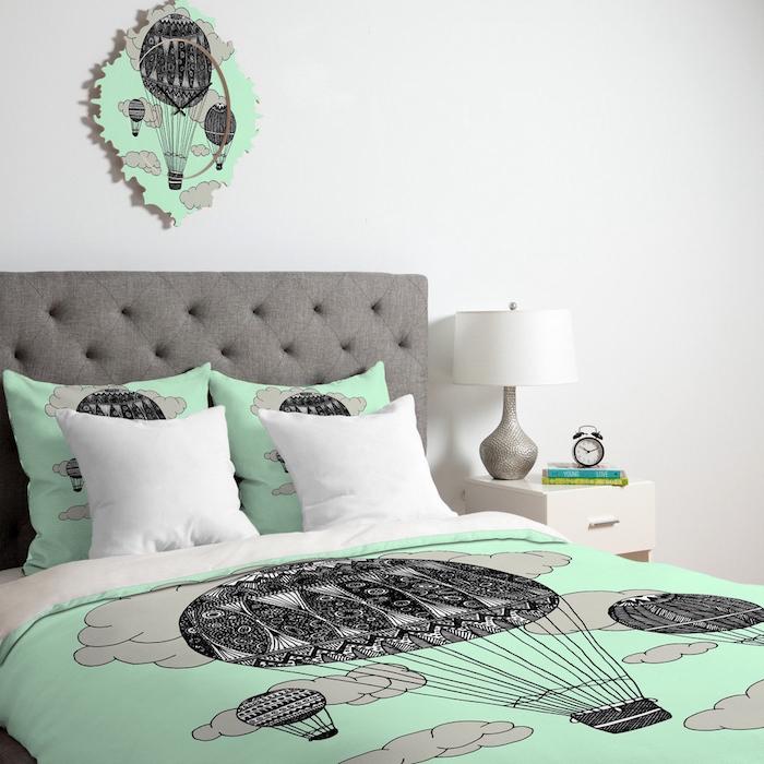 décoration vert gris blanc chambre adulte