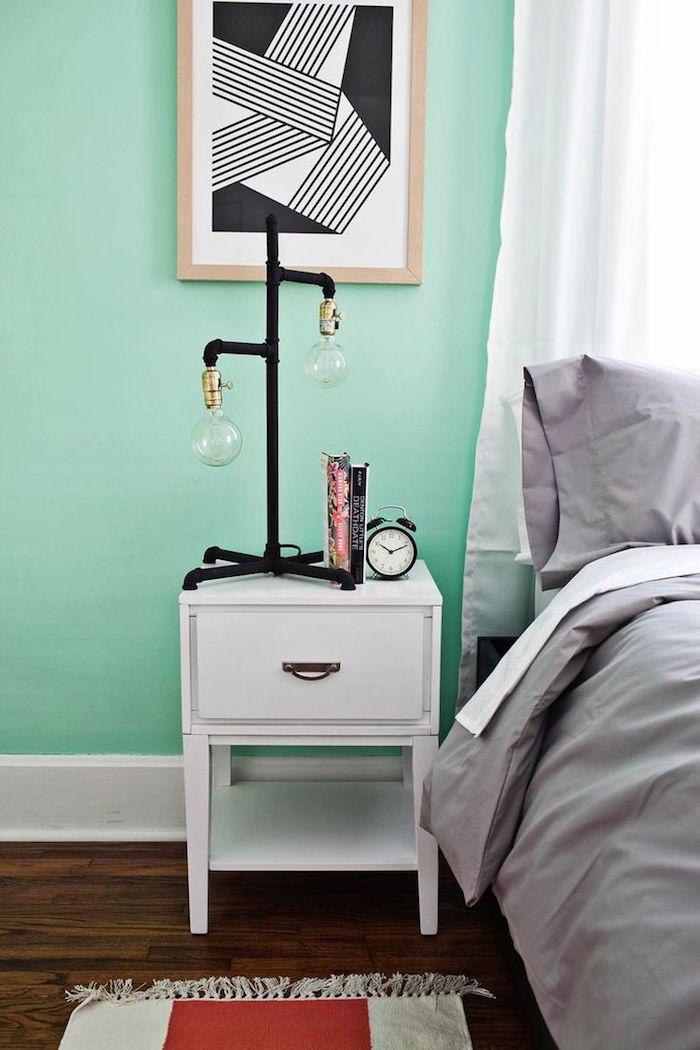 décoration style chambre scandinave blanc gris vert menthol