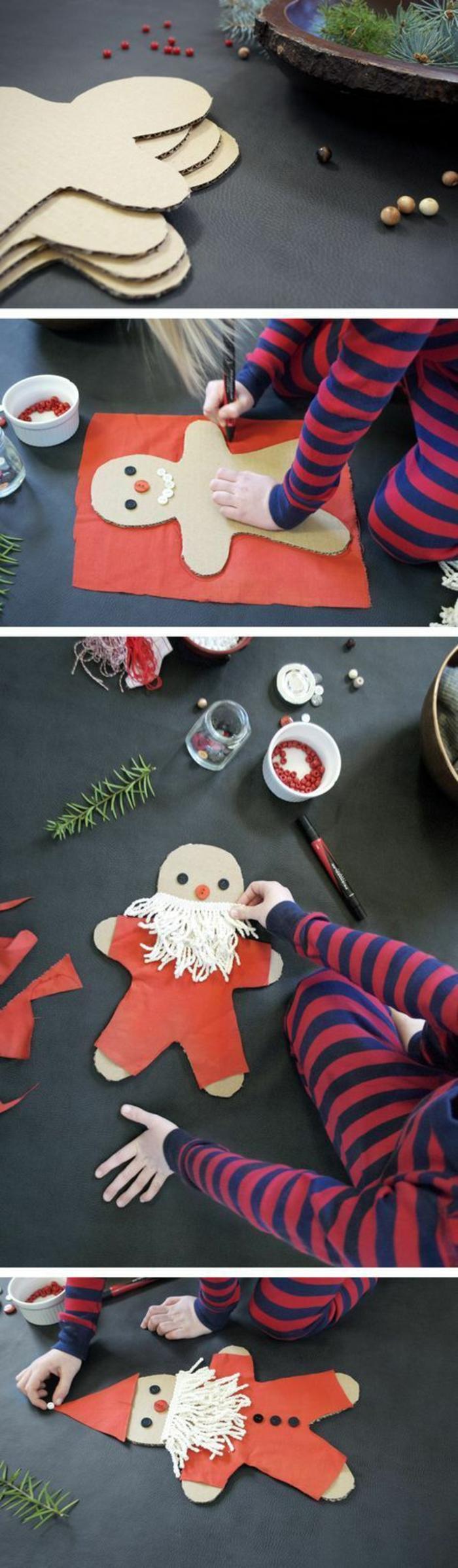 deco de noel a faire soi meme, Père Noël, découpé en carton, avec du papier rouge et barbe en coton, projet pour occuper les enfants autour des fêtes de fin d'année