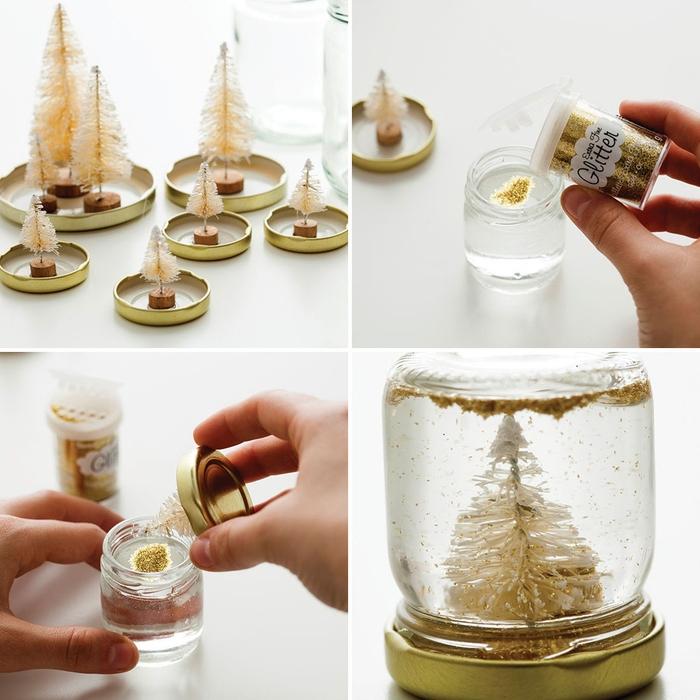 décorations de noël à faire soi-même avec des pots en verre, des sapins décoratifs et de poudre paillette, des globes de neige à paysage hivernal féerique