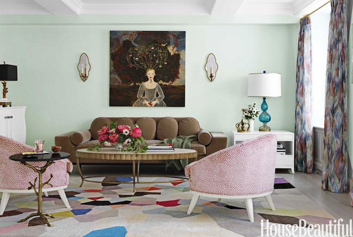 couleurs décoration salon retro vintage pale marron rouge vert
