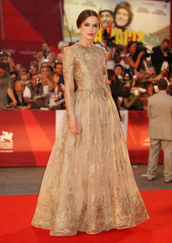 Habillée robe de soirée manche longue comment s'habiller pour un mariage robe Keira Knightley tapis rouge